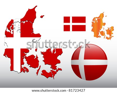 Vector illustration of Denmark map and glossy ball with flag pattern - stock vector