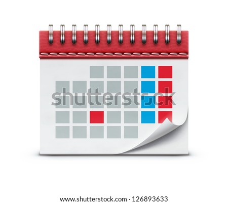 Vector illustration of detailed beautiful calendar icon isolated on white background. - stock vector