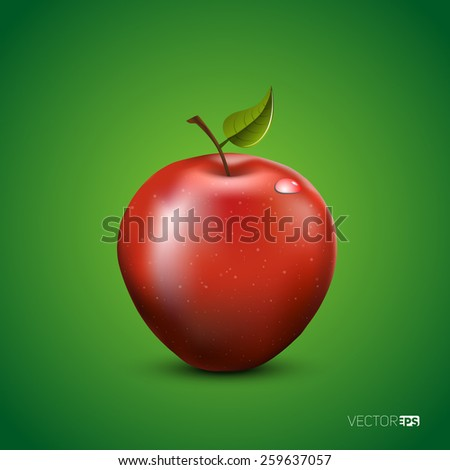 Vector illustration of detailed big shiny red apple on green background - stock vector