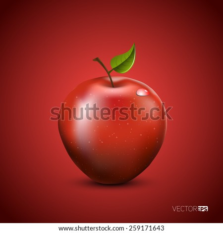 Vector illustration of detailed big shiny red apple on red background - stock vector
