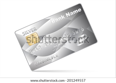 Vector illustration of detailed glossy silver credit card on white background - stock vector