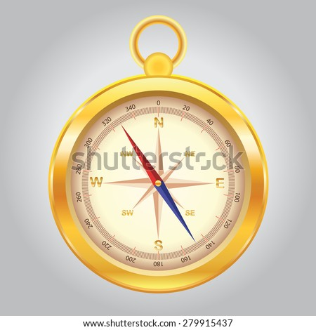 Vector illustration of detailed gold compass for navigation with wind rose, arrow and directions on a neutral background for your design. Realistic metal compass - stock vector