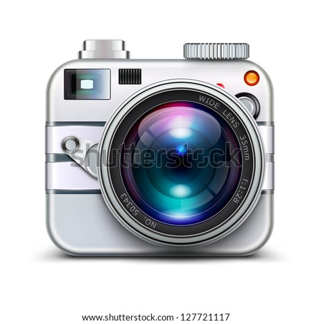 Vector illustration of detailed icon representing metal style photo camera with lens - stock vector