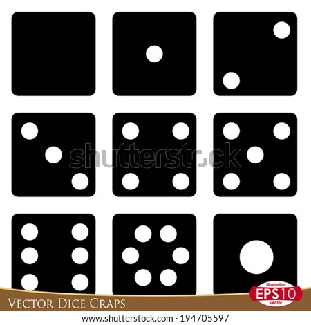 Vector illustration of dice craps isolated on white background. - stock vector