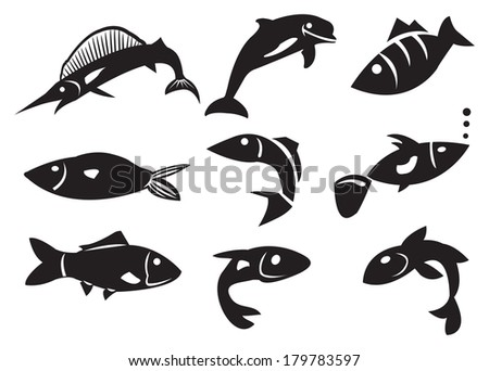 Vector illustration of different fish icons. Black Isolated objects against white background.  - stock vector