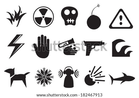 """Vector illustration of different icons for """"Danger"""" - stock vector"""