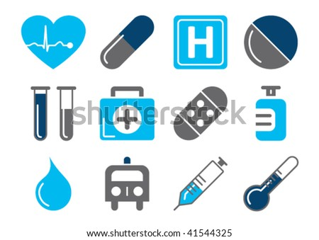Vector illustration of 12 different medical icons, blue color scheme - stock vector