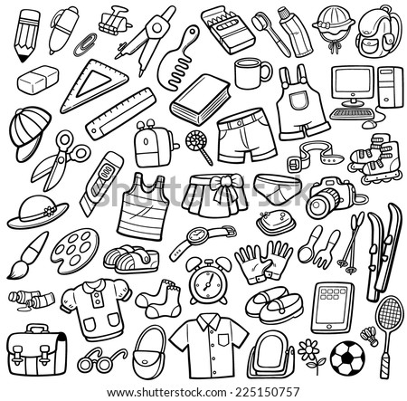 Vector Illustration of Different objects - Coloring book - stock vector