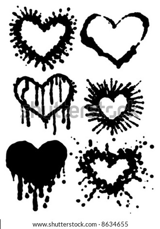 vector Illustration of different shapes of heart in Grunge ink-blot style. - stock vector
