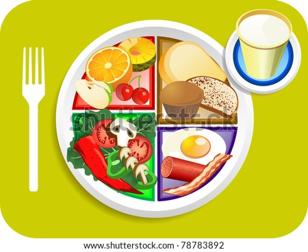 Vector illustration of Dinner items for the new my plate replacing food pyramid. - stock vector