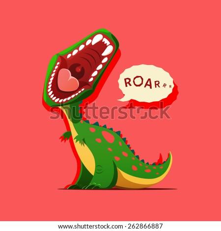 Vector illustration of dinosaur is roaring - stock vector