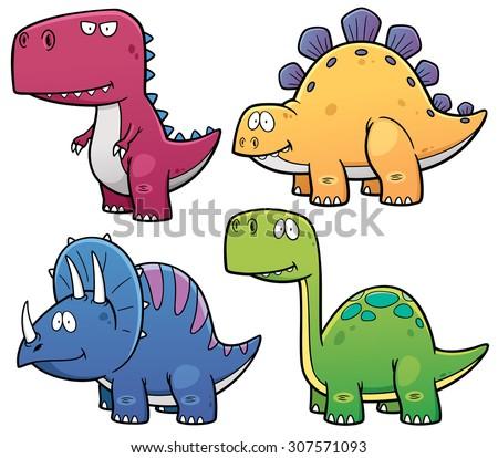 Vector illustration of Dinosaurs cartoon characters - stock vector