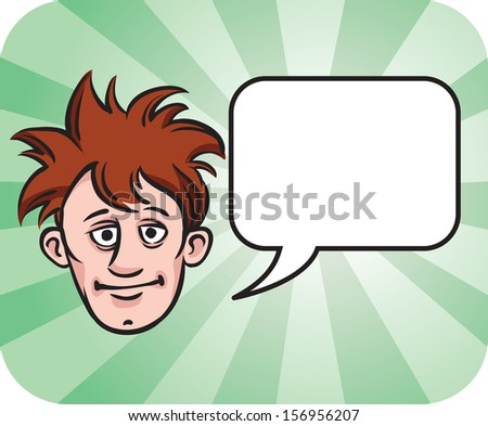 Vector illustration of dishevelled face with speech bubble. Easy-edit layered vector EPS10 file scalable to any size without quality loss. High resolution raster JPG file is included. - stock vector