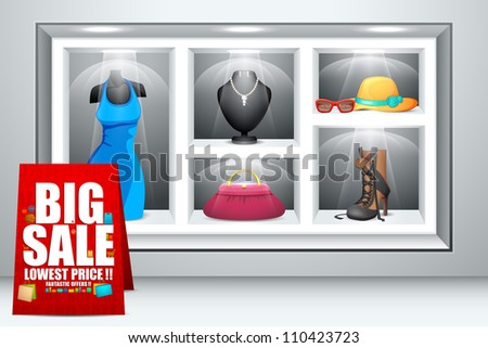 vector illustration of display of fashion dress and accessory - stock vector