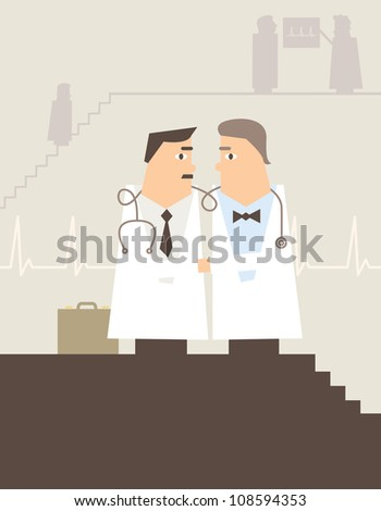 Vector illustration of doctors shaking hands in a hospital or GP surgery - stock vector