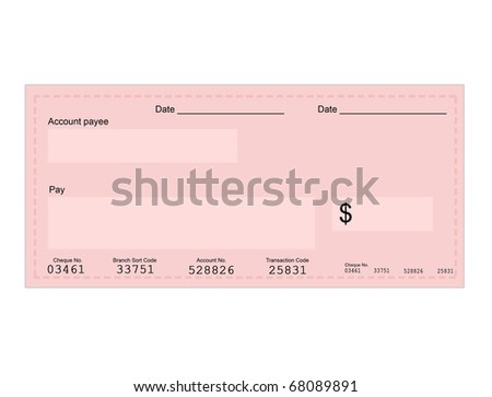 Vector illustration of dollar cheque with space for your own text - stock vector
