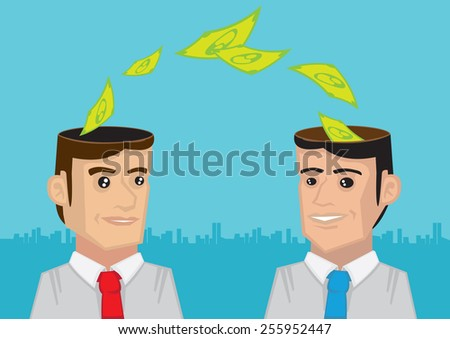 Vector illustration of dollar notes flowing from head of a businessmen to another businessman. Concept for exchange of business ideas and collaboration. - stock vector