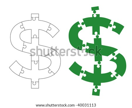 Vector illustration of dollar sign sliced into puzzle pieces - stock vector