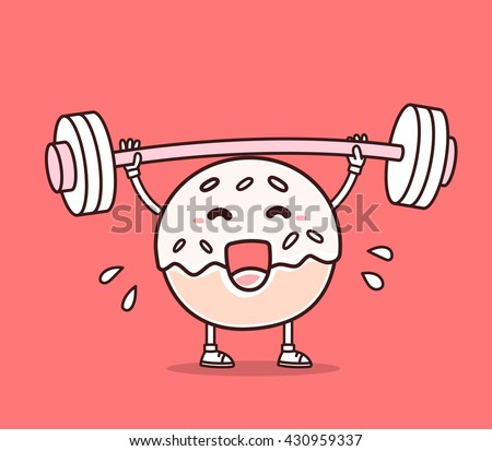Vector illustration of donut with barbell lifting weights on red background. Exercising cartoon donut concept. Doodle style. Thin line art flat design of character donut for lose weight, fitness - stock vector