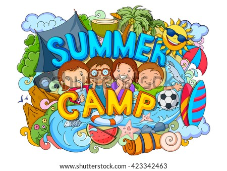 vector illustration of doodle of kids Summer Camp poster - stock vector