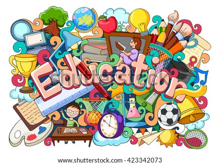 vector illustration of doodle on education concept - stock vector