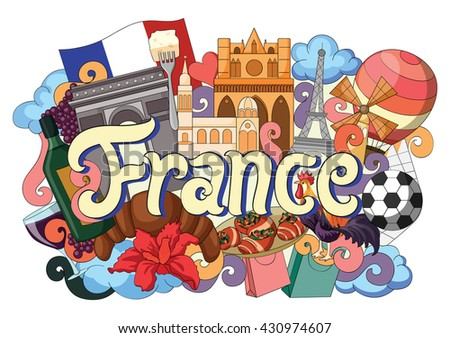 vector illustration of Doodle showing Architecture and Culture of France - stock vector