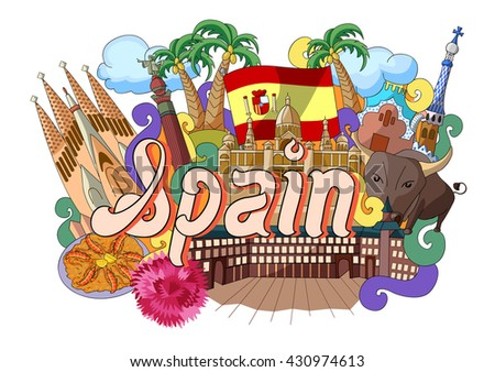 vector illustration of Doodle showing Architecture and Culture of Spain - stock vector