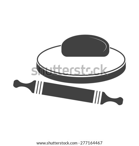 Vector illustration of dough and rolling pin on a wooden board. Icon on white background. - stock vector