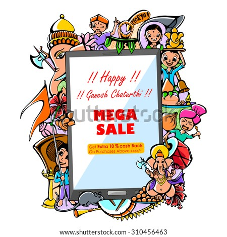 vector illustration of drawing for Happy Ganesh Chaturthi Mega Sale on mobile application - stock vector