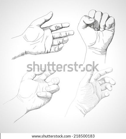 Vector illustration of   drawing hand - stock vector