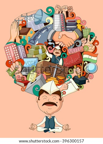 vector illustration of dream and thought of politician - stock vector