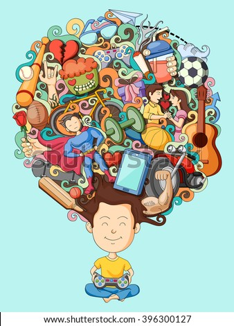 vector illustration of dream and thought of teenage boy - stock vector