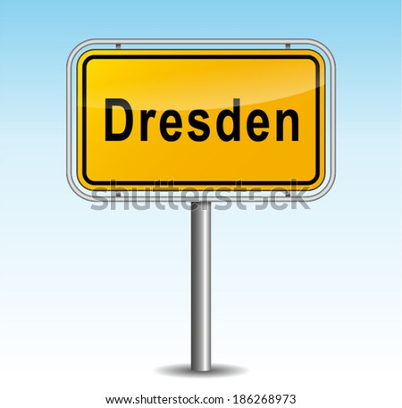 Vector illustration of dresden signpost on sky background - stock vector