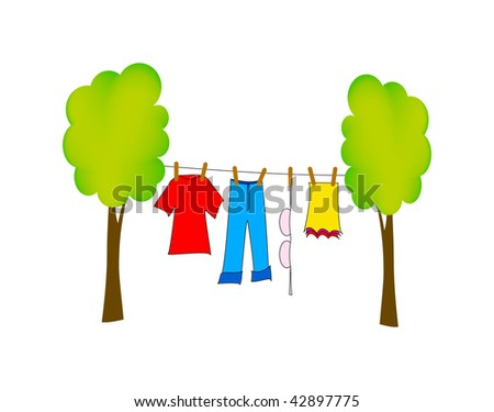 vector illustration of dry washing isolated on white background - stock vector