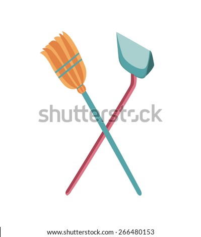 Vector illustration of dustpan and broom. Cleaning supplies - stock vector