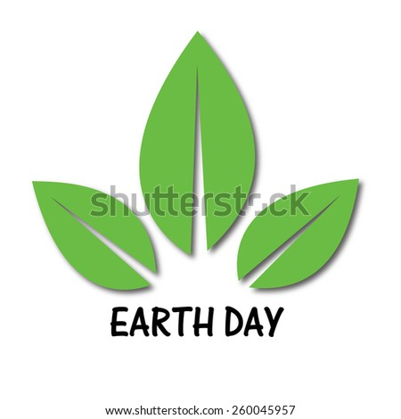 vector illustration of earth day with green leafs - stock vector
