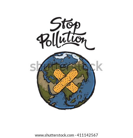 Vector illustration of Earth that needs protection, can be used as a poster, banner or print on a t-shirt - stock vector