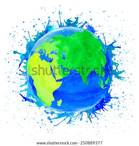 Vector illustration of Earth. Watercolor style with spots and splashes - stock vector