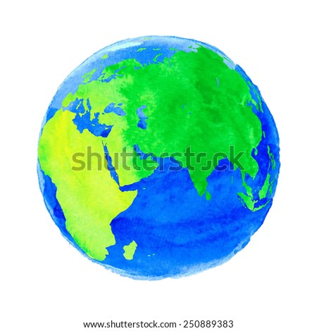 Vector illustration of Earth with watercolor texture on white background - stock vector