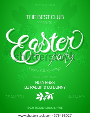 vector illustration of easter day party invitation poster with hand drawn lettering and rabbits. - stock vector