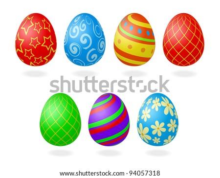 vector illustration of easter eggs - stock vector