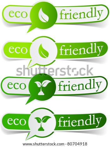 Vector illustration of Eco friendly sticky labels. - stock vector