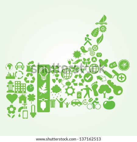 Vector illustration of eco icons formed in a hand with a thumb up. - stock vector