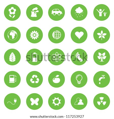 Vector illustration of eco icons in green circles. - stock vector