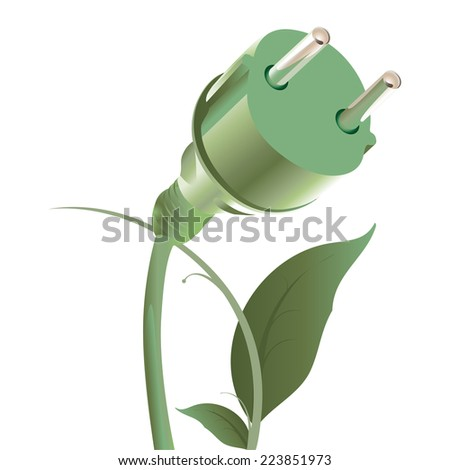 Vector illustration of ecological power cable - stock vector