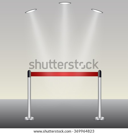 Vector illustration of ed carpet illuminated by spotlights - stock vector