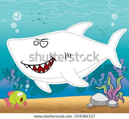 Vector Illustration of Education for children the line dot - Shark - stock vector