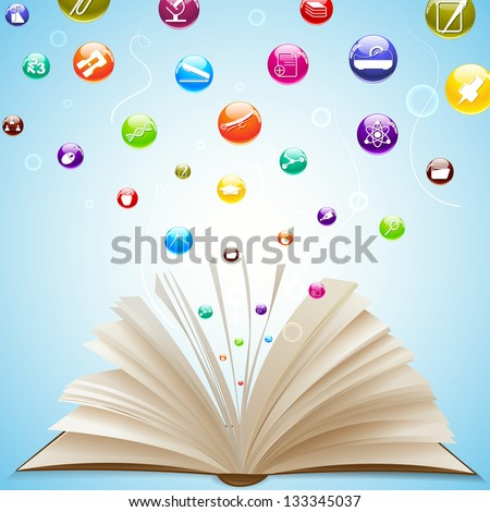 vector illustration of education icon coming out of open book - stock vector