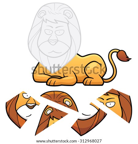 Vector Illustration of Education Jigsaw Puzzle Game for Children with lion - stock vector
