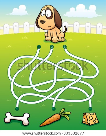 Vector Illustration of Education Maze Game Dog with food - stock vector
